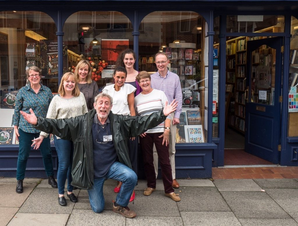 Bookshop staff with Michael Rosen